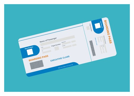 airplane ticket simple illustration