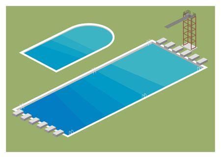 ladder  fence: swimming pool simple illustration