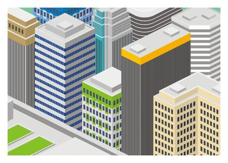 city building: city building colored isometric illustration Illustration