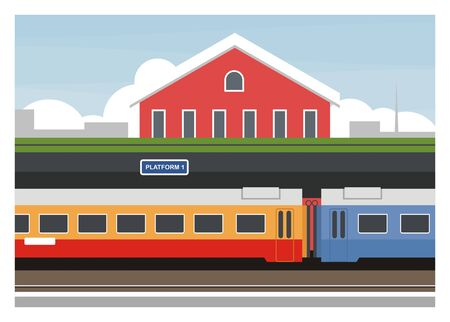 passenger train stops at the railway station Illustration