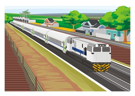thoroughfare: passenger train crossing village
