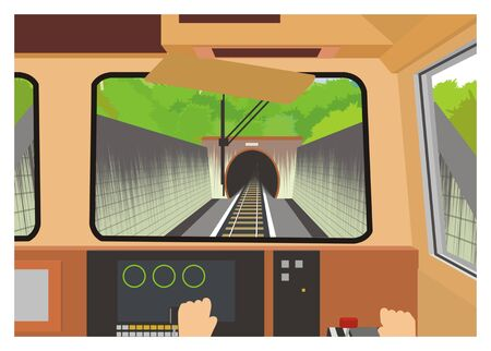 machinist: entering the tunnel, locomotive engineers perspective Illustration