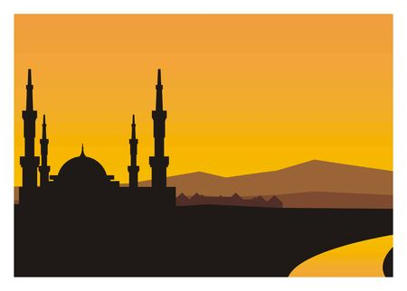 sanctuaries: mosque silhouette with river and mountain background