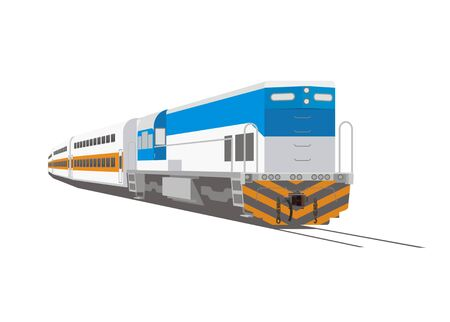double decker passenger train Illustration
