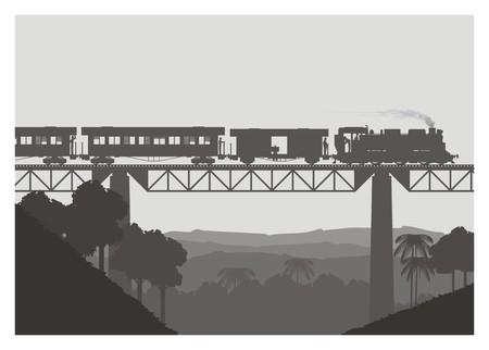 long haul journey: steam tran crossing the bridge, silhouette style Illustration