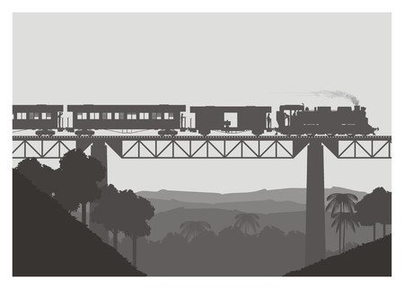 steam tran crossing the bridge, silhouette style Illustration