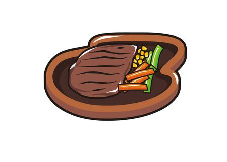 hot plate: beef steak on a hot plate Illustration