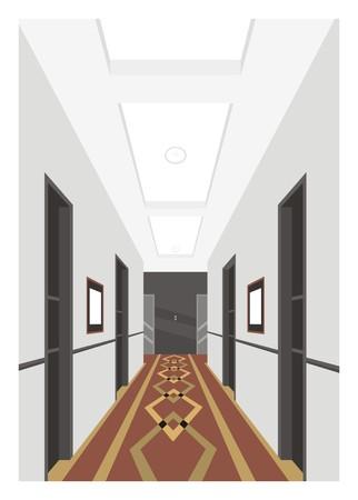 hotel corridor simple illustration