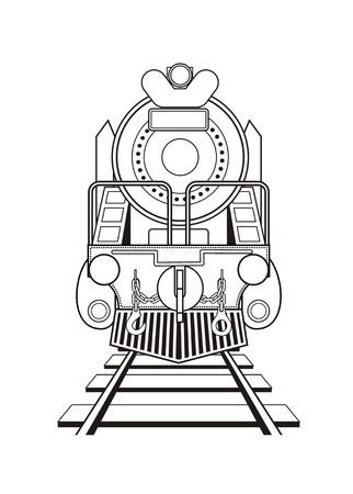 steam locomotive: steam locomotive in black and white Illustration