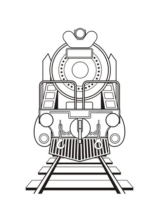 steam locomotive in black and white Illustration