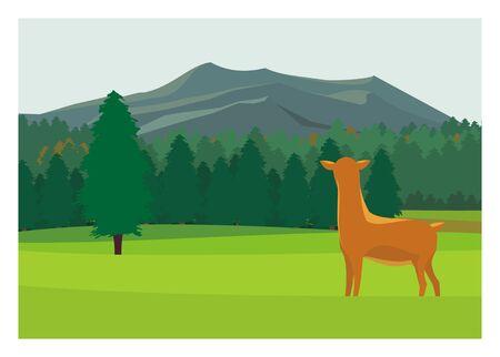 a deer in a savanna with forest and mountain background Vektoros illusztráció