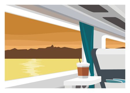 train table: train interior with lake and mountain view in the window
