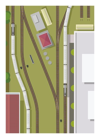 thoroughfare: train station, view from the top Illustration