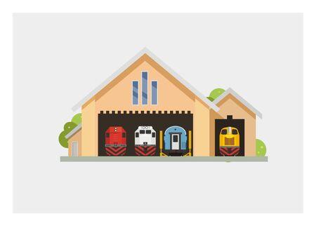 rail yard: train depot simple illustration