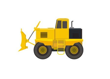 bulldoze: bulldozer vehicle simple illustration Illustration