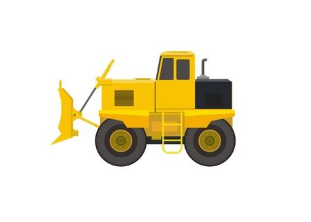 bulldozer vehicle simple illustration Illustration