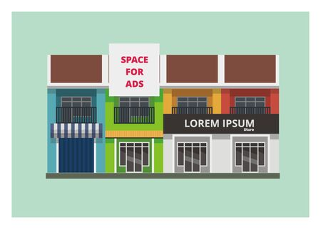 veranda: shop houses simple illustration