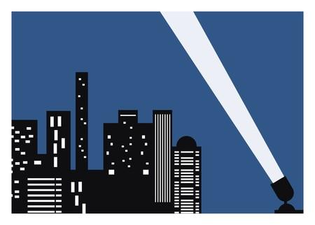 city night building with spotlight Illustration