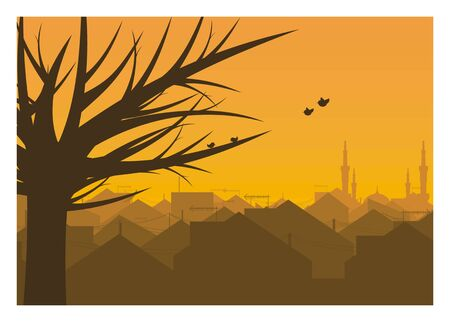 urban houses, tree, and birds silhouette