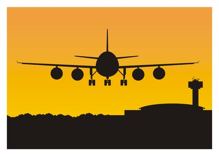 transportation facilities: Airplane and airport silhouette
