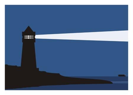 夜の船と灯台 写真素材 - 76520668