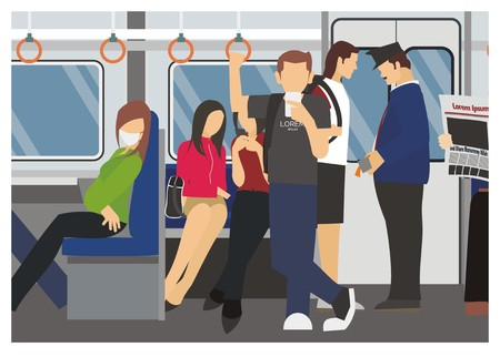 A passenger activity in a commuter train vector illustration.