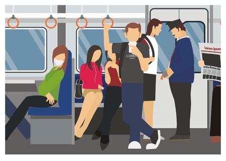 A passenger activity in a commuter train vector illustration.
