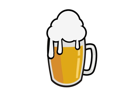 foamy beer simple illustration