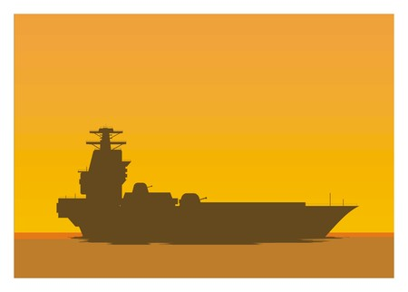 war ship silhouette simple illustration Illustration