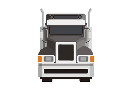 hooded truck simple illustration