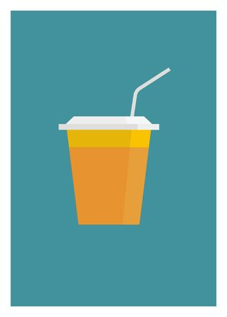 orange juice in a plastic cup with straw