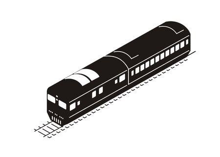 train silhouette in isometric view
