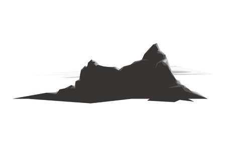 Mountain rocks silhouette with clouds