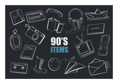 90s items doodle illustration