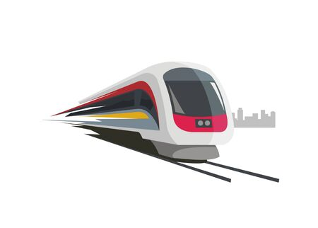 fast train simple illustration with city building silhouette