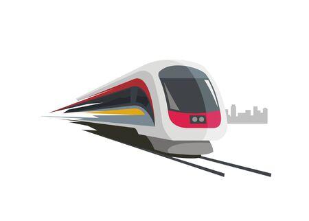 snelle trein eenvoudige illustratie met stad gebouw silhouet