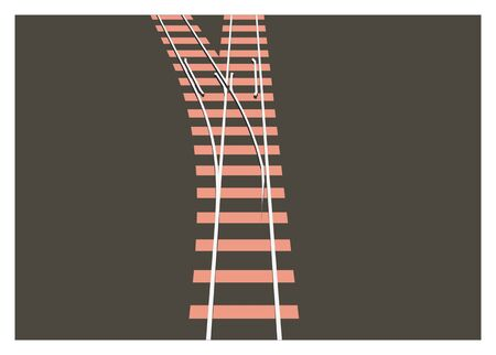 rail switch in perspective Vector illustration.