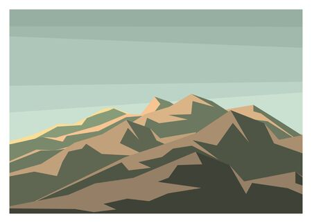 mountain peaks layer colored illustration