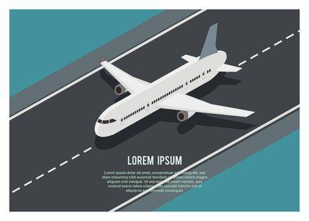 airplane running on the runway, simple isometric illustration Vettoriali