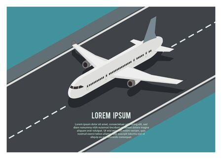 airplane running on the runway, simple isometric illustration Vectores