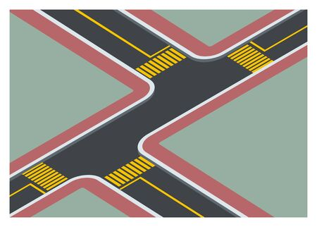 T-junction road crossing simple illustration. Illustration