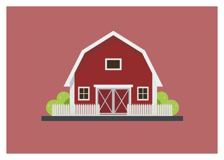 Barn simple isolated illustration Çizim