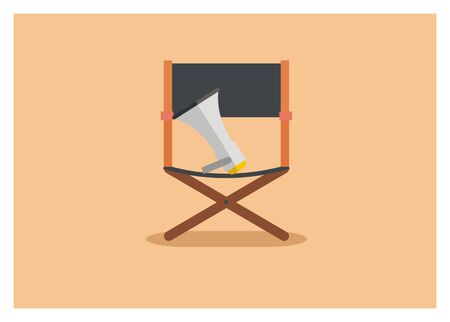 movie director chair simple icon Illustration