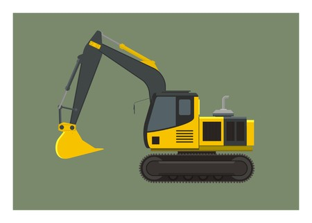 Excavator simple illustration Ilustrace