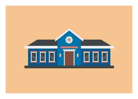 School simple illustration, front view