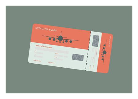 airplane ticket with airplane icon Illustration