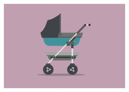 baby trolley simple illustration
