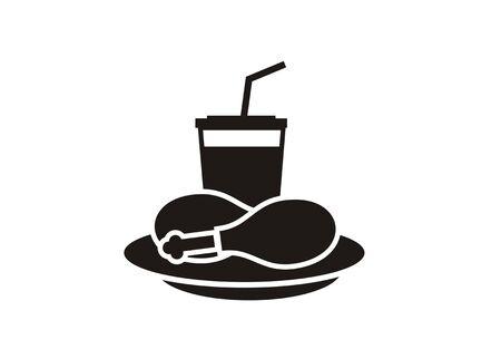 Fried chicken restaurant simple black icon isolated vector illustration 일러스트