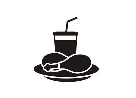 Fried chicken restaurant simple black icon isolated vector illustration Ilustração