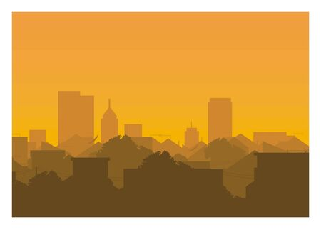 City settlement with skyscraper background silhouette illustration